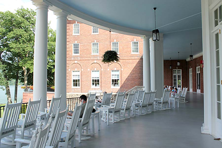 The sitting porch at the Otesaga