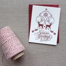 Winter Deer Letterpressed Holiday Cards