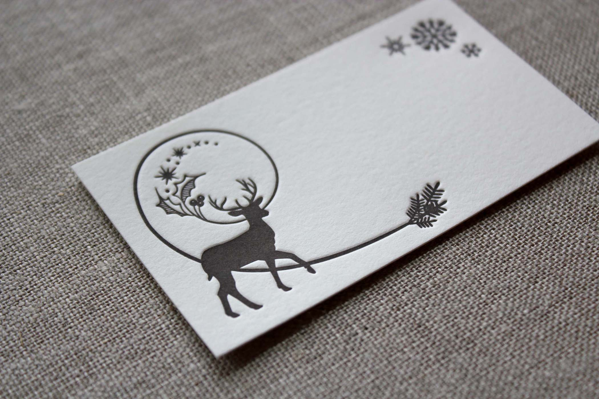 Winter Deer Letterpressed Holiday Gift Tags