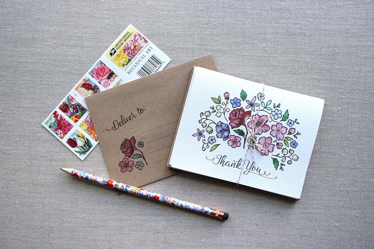 Floral Bouquet Thank You Notes